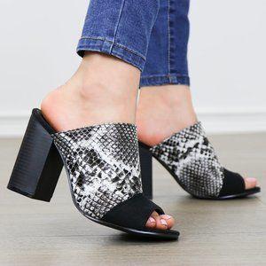 Snake Print Open Toe Slip on Chunky High Heel